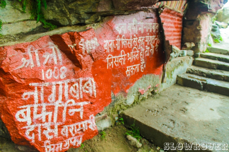 The message outside Baba Barfani's decrepit cave